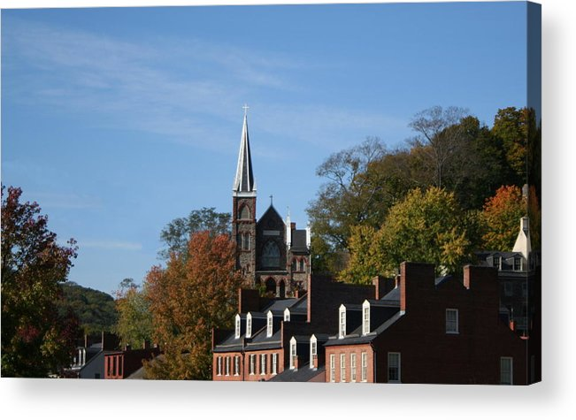 Catholic Acrylic Print featuring the photograph St. Peters Roman Catholic Church At A Distance by Rebecca Smith