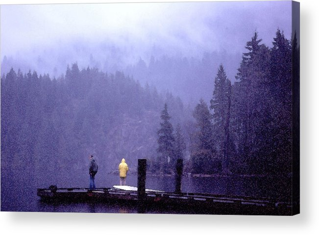 Fishing Acrylic Print featuring the photograph Standing In The Mist 2 Wc by Lyle Crump