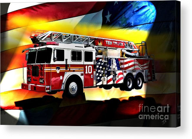 Seagrave Acrylic Print featuring the digital art Ten Truck Fdny by Tommy Anderson