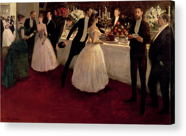 The Buffet Acrylic Print featuring the painting The Buffet by Jean Louis Forain