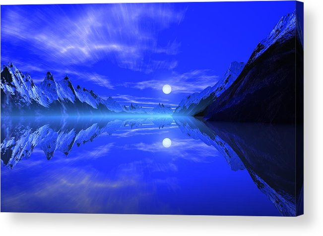 David Jackson The Fiords Of Thor Alien Landscape Planets Scifi Acrylic Print featuring the print The Fiords Of Thor. by David Jackson