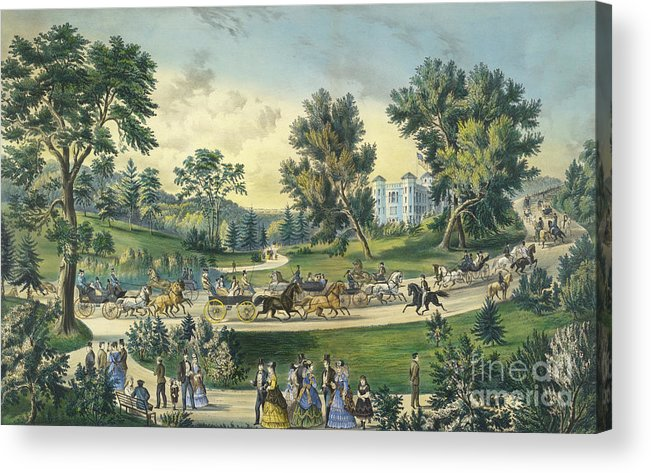 The Grand Drive Acrylic Print featuring the painting The Grand Drive, Central Park, New York, 1869 by Currier and Ives