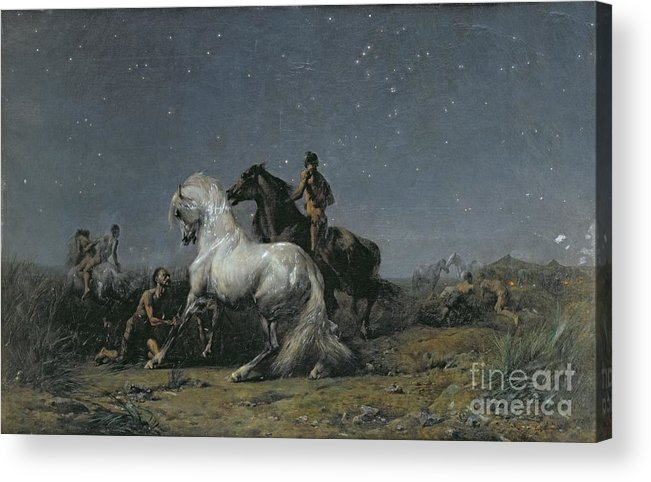 The Acrylic Print featuring the painting The Horse Thieves by Ferdinand Victor Eugene Delacroix