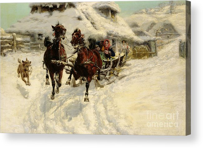 Winter Acrylic Print featuring the painting The Sleigh Ride by JFJ Vesin