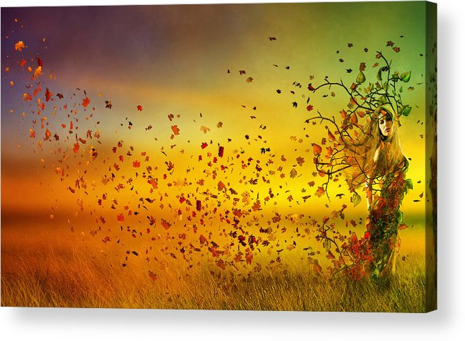 Fall Acrylic Print featuring the digital art They Call Me Fall by Mary Hood
