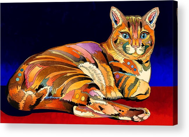 Cat Art Acrylic Print featuring the painting Tumbleweed by Bob Coonts
