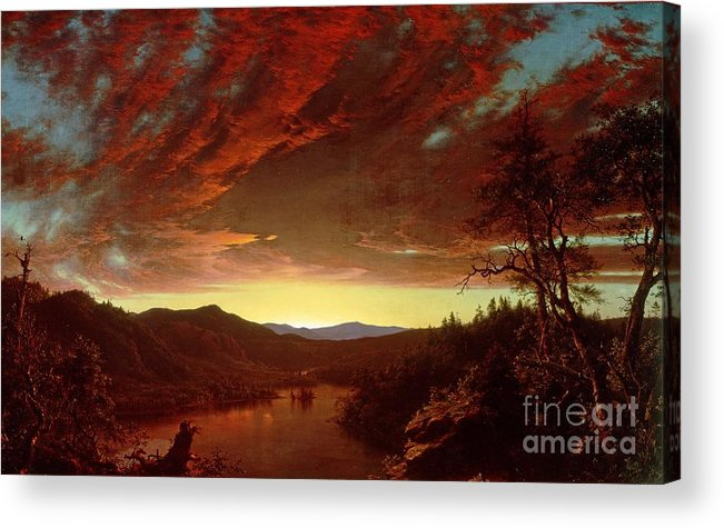 Twilight Acrylic Print featuring the painting Twilight In The Wilderness by Frederic Edwin Church