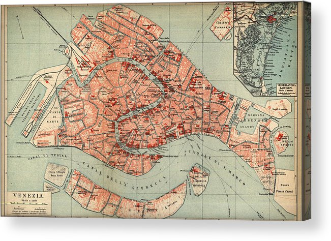 graphic regarding Printable Map of Venice named Classic Map Of Venice Italy - 1920 Acrylic Print