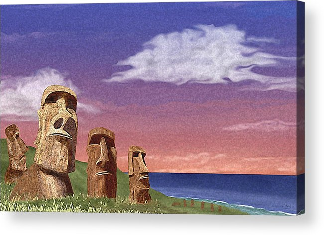 Contemporary Quirky Easter Island Statues Seascape Ocean Water Primitive Watchers Watching Guard Guards Guardians Vigilance Vigilant Think Thinking Thinkers Aware Alert Looking Lookouts Beach Patrol Stalwart Steadfast Defense Defending Defenders Security Safety Safe Unfriendly Hostile Stone Face Faced Determination Determined Serious Dedicated Dedication Committed Contemplation G Acrylic Print featuring the painting Watchers by Gordon Beck