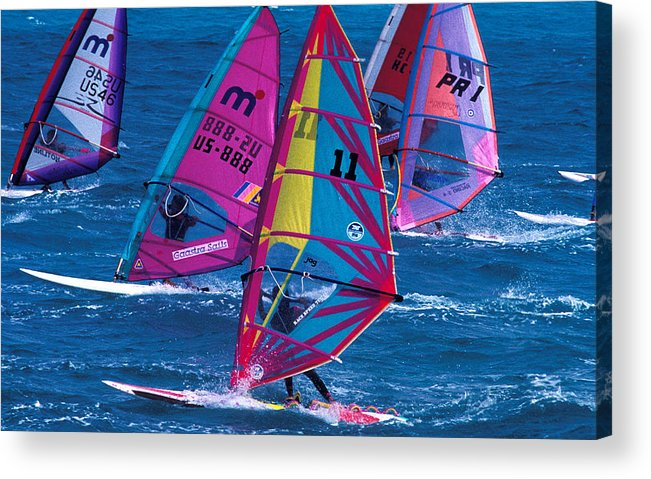 Wind Acrylic Print featuring the photograph Wind Surfers In Nassau by Carl Purcell
