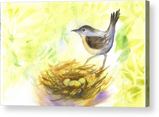 Wren Acrylic Print featuring the painting Wren by Ruth Bevan
