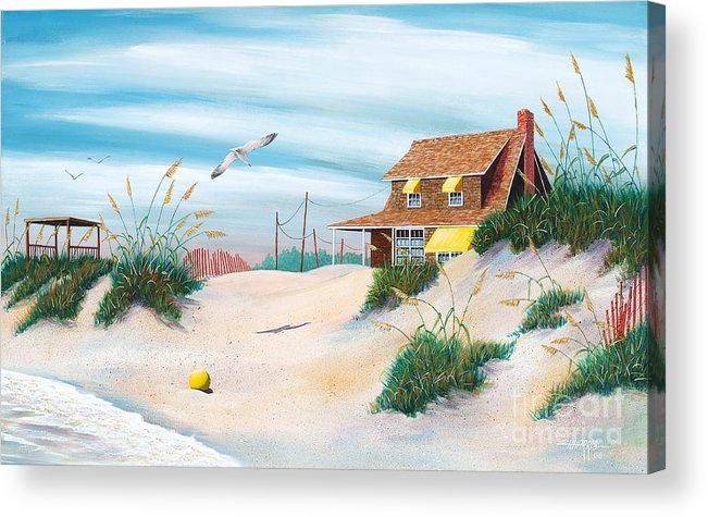 Beach Acrylic Print featuring the painting Yellow Beach Ball by Hugh Harris