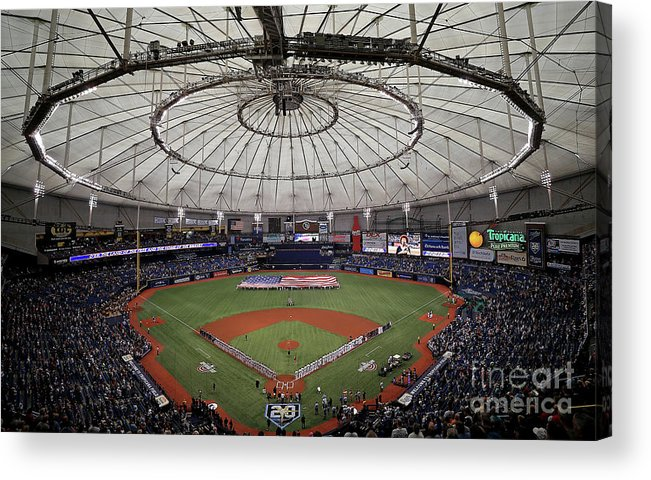 American League Baseball Acrylic Print featuring the photograph Boston Red Sox V Tampa Bay Rays by Mike Ehrmann