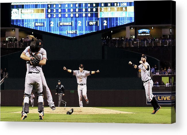 People Acrylic Print featuring the photograph Madison Bumgarner And Buster Posey by Jamie Squire