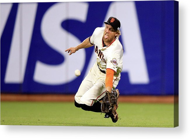 San Francisco Acrylic Print featuring the photograph Hunter Pence And Lorenzo Cain by Jamie Squire
