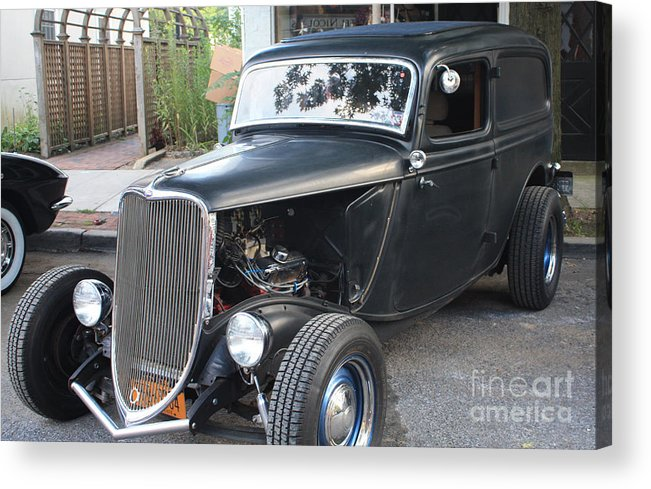 1933 Ford Two Door Sedan Front And Side View Acrylic Print featuring the photograph 1933 Ford Two Door Sedan Front And Side View by John Telfer