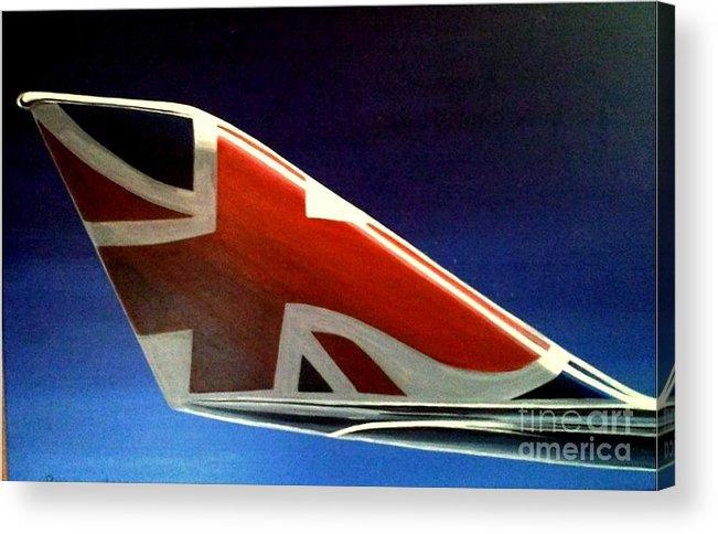 United Kingdom Acrylic Print featuring the painting Virgin Atlantic Winglet by Richard John Holden RA