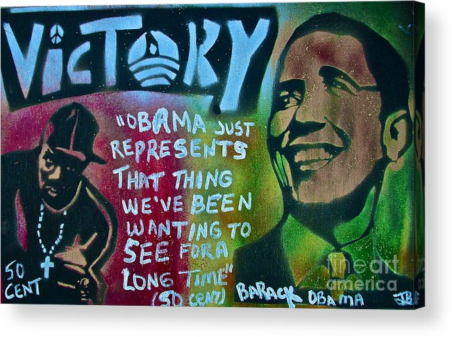 Barack Obama Acrylic Print featuring the painting Barack And Fifty Cent by Tony B Conscious