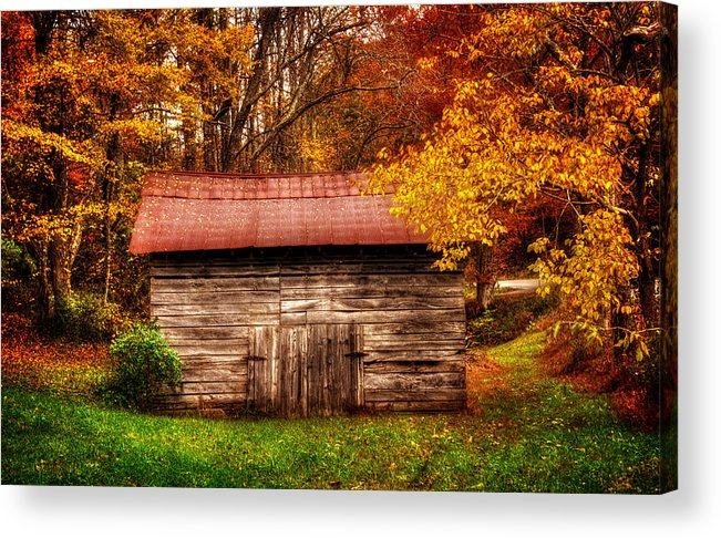 Wnc Acrylic Print featuring the photograph Barn In Fall by Greg Mimbs