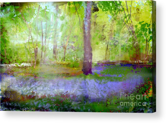 Digital Acrylic Print featuring the digital art Blue Bells In The Wood Painting Number 1 by George Sneyd