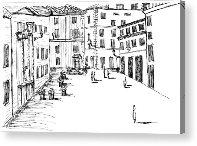 Italian Landscape Sketch Acrylic Print featuring the drawing Day In Piazza Di Campitelli by Elizabeth Thorstenson