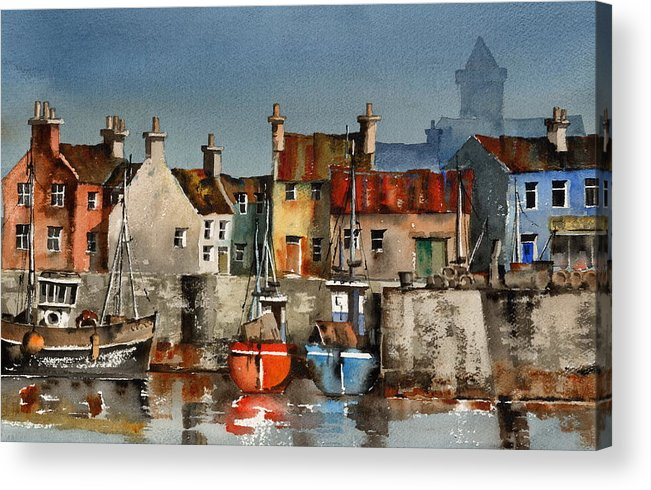 Val Byrne Acrylic Print featuring the painting Dingle Harbour Kerry by Val Byrne