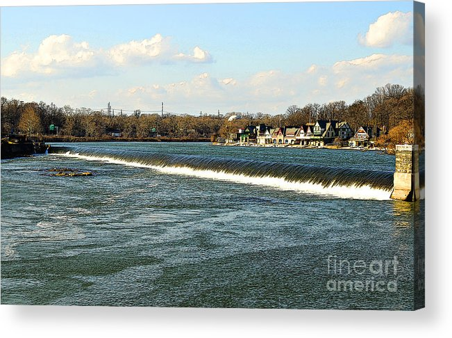 Boathouse Row Acrylic Print featuring the photograph Falls At Boathouse Row by Addie Hocynec