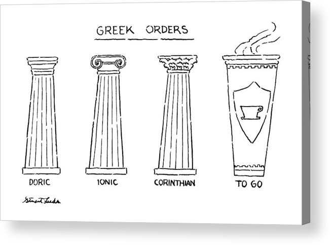 Greek Orders.title.drawing Of 4 Columns: Doric Acrylic Print featuring the drawing Greek Orders by Stuart Leeds