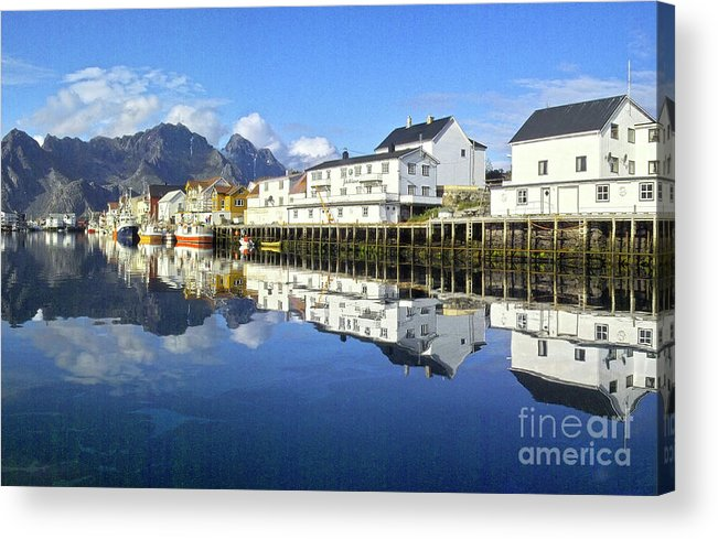 Heiko Acrylic Print featuring the photograph Henningsvaer Harbour by Heiko Koehrer-Wagner