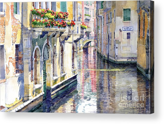 Watercolor Acrylic Print featuring the painting Italy Venice Midday by Yuriy Shevchuk