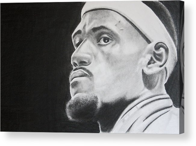 King James Acrylic Print featuring the drawing Lebron by Don Medina