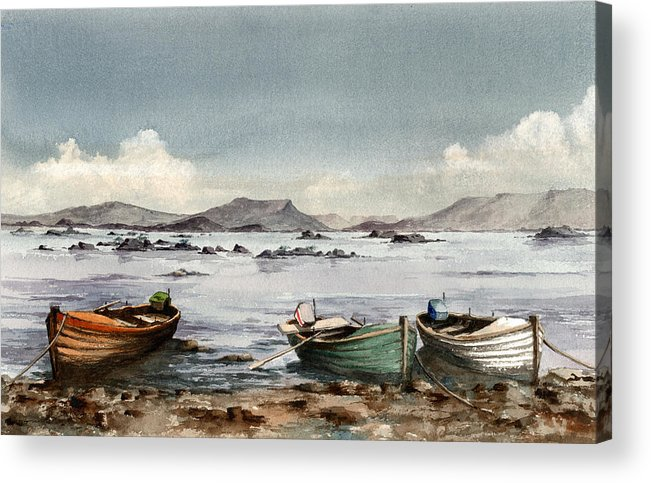 Val Byrne Acrylic Print featuring the painting Lough Mask Mayo by Val Byrne