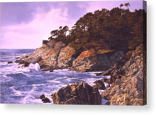 Seascape Acrylic Print featuring the painting Monterey Glory by Tom Wooldridge