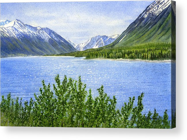 Watercolor Acrylic Print featuring the painting Morning Sun On Kenai Lake by Sharon Freeman
