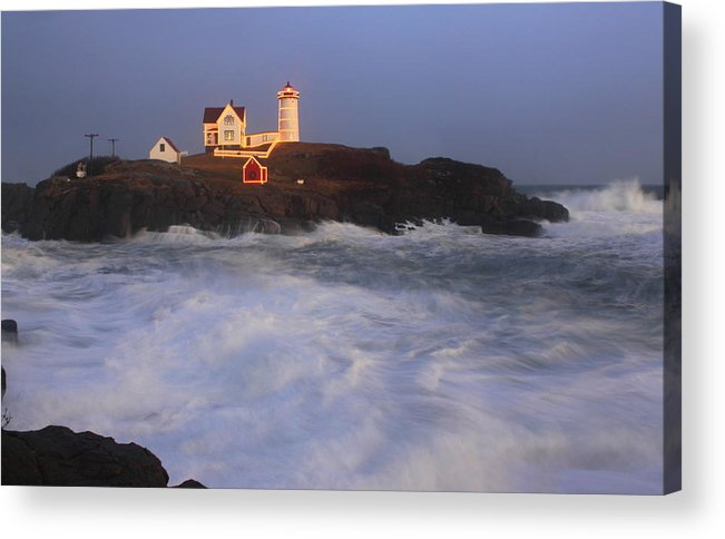 Maine Acrylic Print featuring the photograph Nubble Lighthouse Holiday Lights And High Surf by John Burk