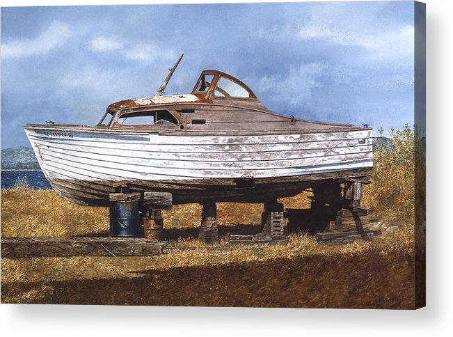 Boats Acrylic Print featuring the painting Old Salt by Tom Wooldridge