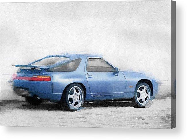 Porsche 928 Acrylic Print featuring the painting Porsche 928 Watercolor by Naxart Studio