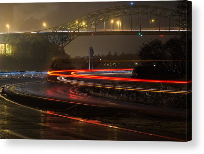 Portsmouth Photographs Photographs Acrylic Print featuring the photograph Portsmouth Harbor Bridge by Phillip McNeil