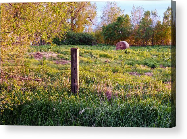 Spring Acrylic Print featuring the photograph Post And Haybale by Tracy Salava