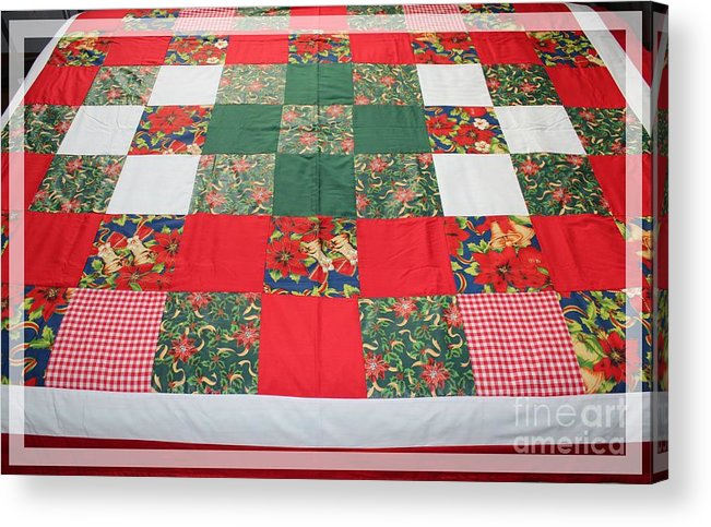 Quilts Acrylic Print featuring the tapestry - textile Quilt Christmas Blocks by Barbara Griffin
