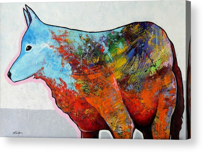 Animal Acrylic Print featuring the painting Rainbow Warrior - Coyote by Joe Triano