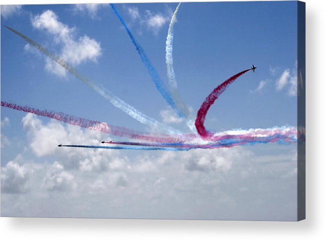 Accuracy Accurate Aerial Aerobatic Aeronautic Agile Agility Air Acrylic Print featuring the photograph Red Arrows Aerobatic Display Team by Steve Ball