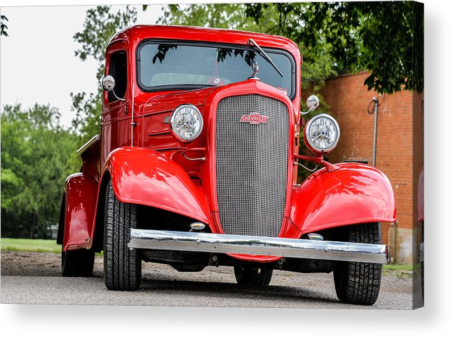 Antique Acrylic Print featuring the photograph Red Chevy In Awesome by David Jeffries