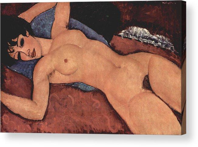 Red Female Nude Painting Acrylic Print featuring the painting Red Female Nude Painting by Amedeo Modigliani