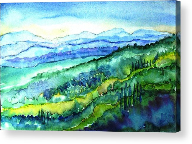 Tuscany Acrylic Print featuring the painting Rolling Tuscan Landscape by Trudi Doyle