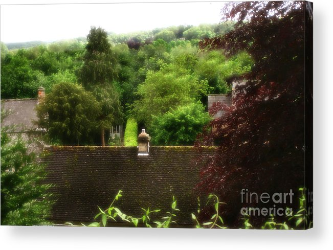 Garden Acrylic Print featuring the photograph Roof Tops In Countryside Scenery With Trees - Peak District - England by Doc Braham