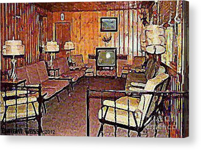 Lounges Acrylic Print featuring the painting Sitting Room Of The Kopper Kettle Motel In Windham N Y 1950's by Dwight Goss
