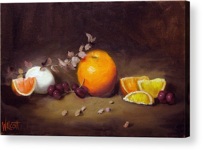 Orange Acrylic Print featuring the painting Still Life With Orange And Egg by Jason Walcott