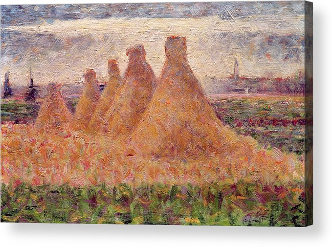 Stacks Acrylic Print featuring the painting Straw Stacks by Georges Pierre Seurat