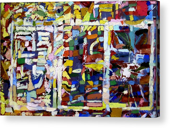 Abstract Paintings Acrylic Print featuring the painting The Three Towers by David Zimmerman